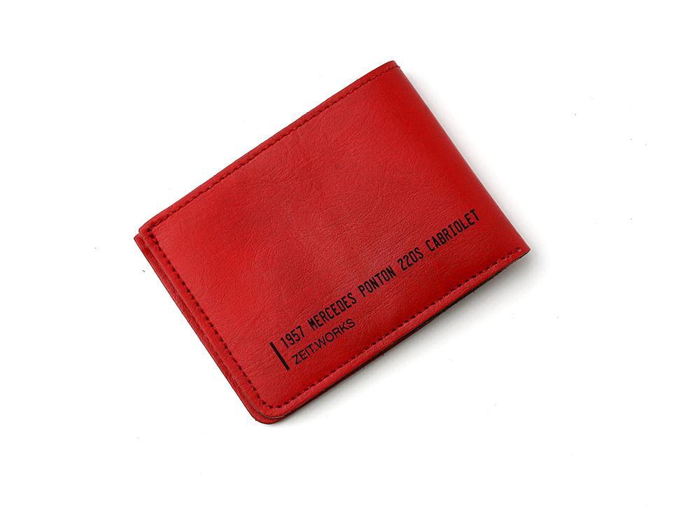 For the car aficionado. Speedy red wallet made from a 1957 Mercedes Ponton