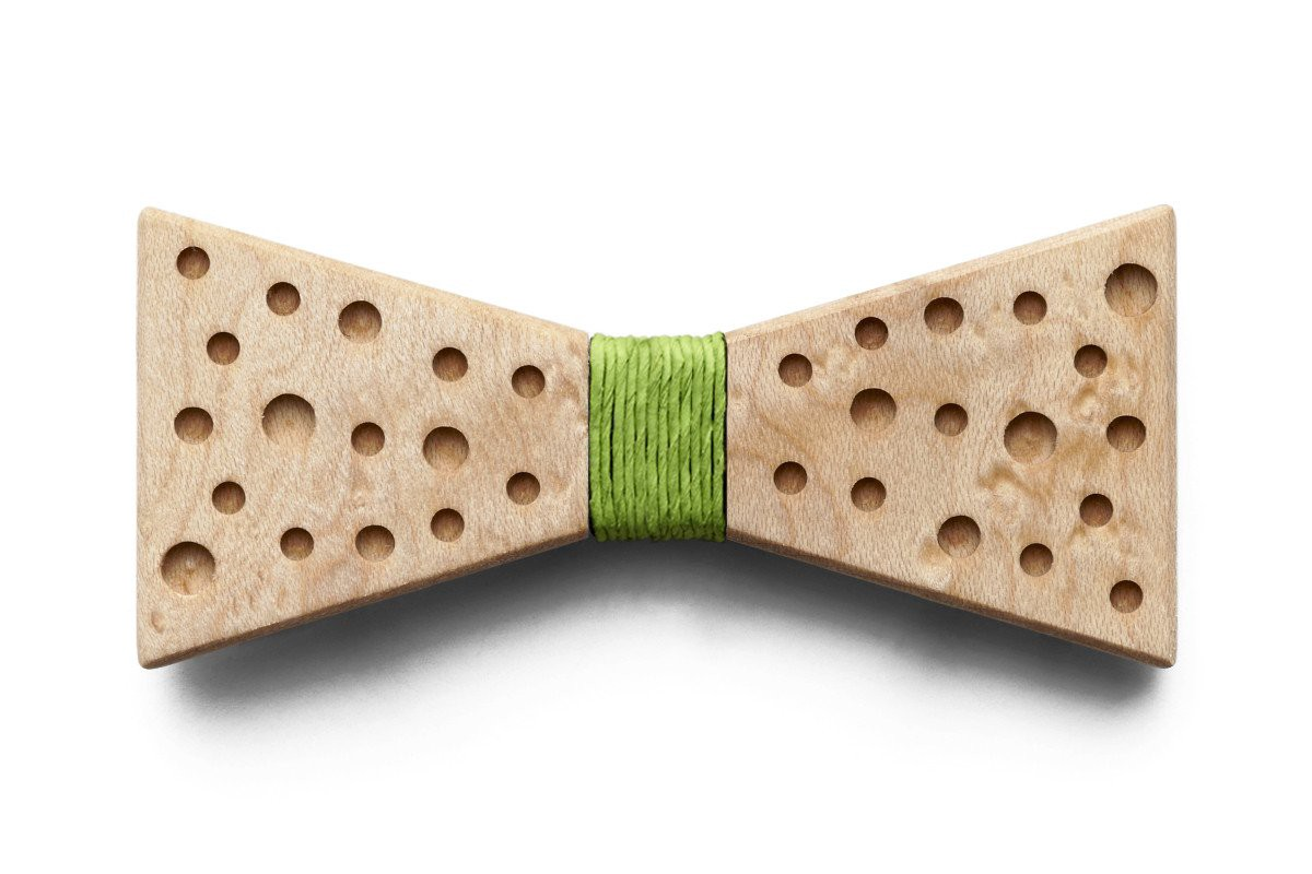 Wooden bowtie with green centre