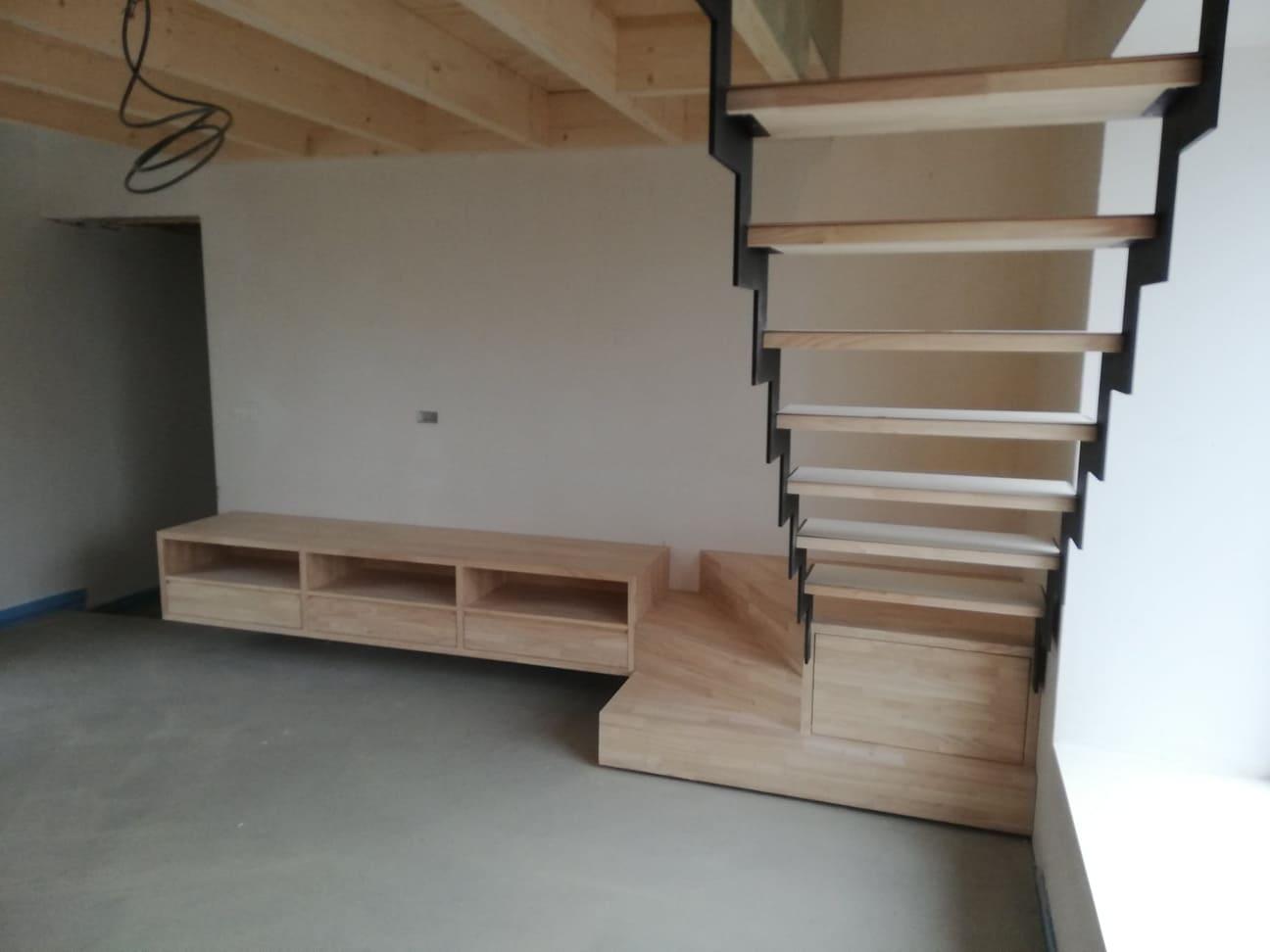 meuble tv et escalier bois metal en