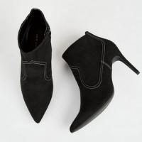 Boots noires à surpiqûres style western