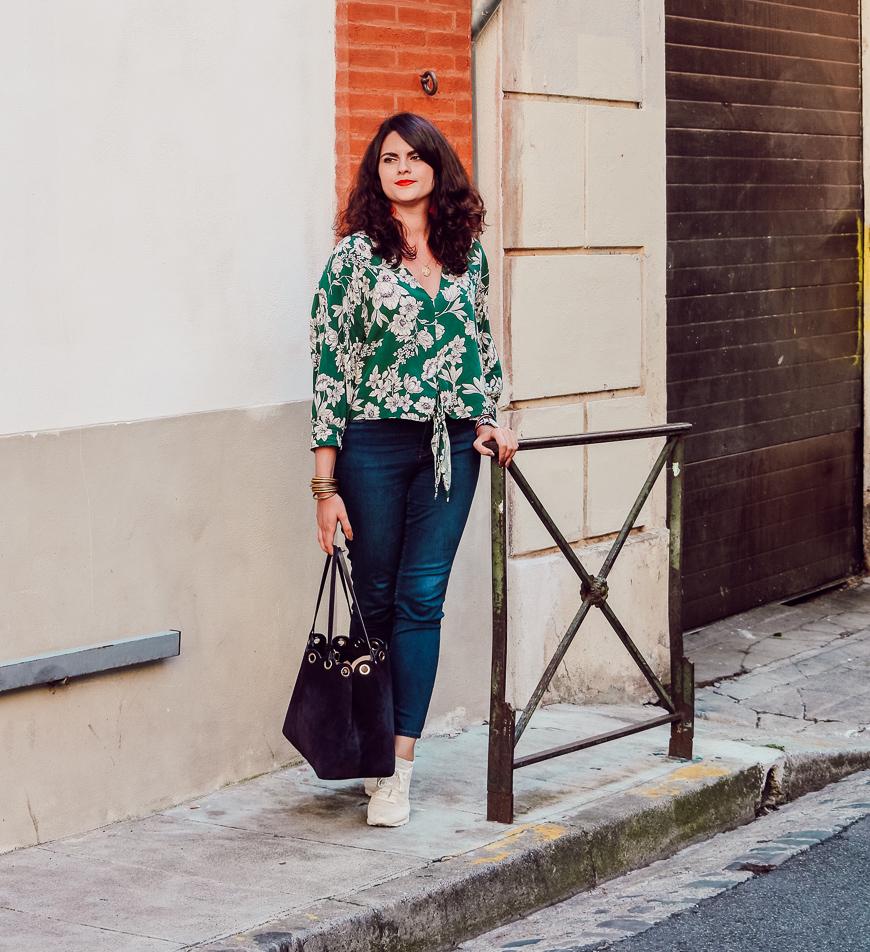 blouse verte fleurie