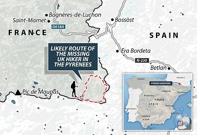 Dan Colegate, the British partner of missing hiker Esther Dingley, was searching for her alone in the Pyrenees earlier this week