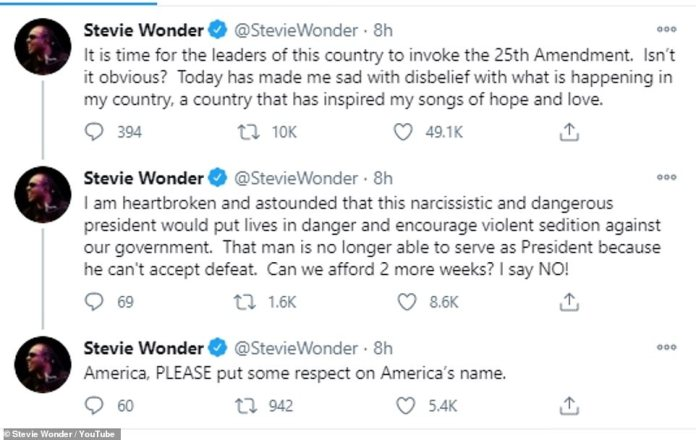 Respeto: otra estrella que intervino fue Stevie Wonder, quien pidió que Trump 'narcisista y peligroso' sea destituido de su cargo luego de los horribles disturbios en Washington DC
