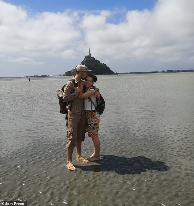 Rachel and Florian hiked in Mont Saint Michel, a tidal island and mainland commune in Normandy, France, as they have spent a year of 'micro travel' in France, staying in places for a few weeks or months depending on Covid restrictions