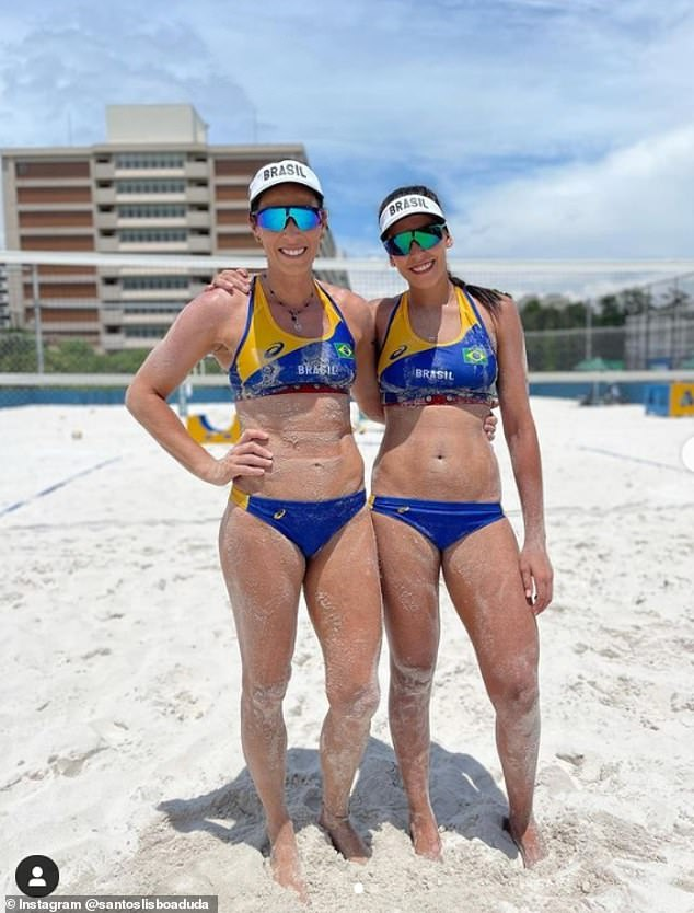 Agatha Bednarczuk, 38, will be going for gold with her new partner Eduarda 'Duda' Lisboa, 22. They are pictured training in Brazil