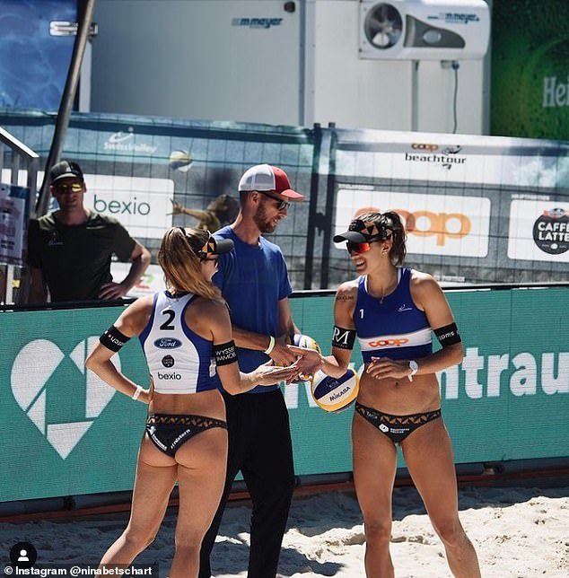 Hüberli and Betschart pictured during the FIVB Beach Volleyball World Tour last month in Gstaad