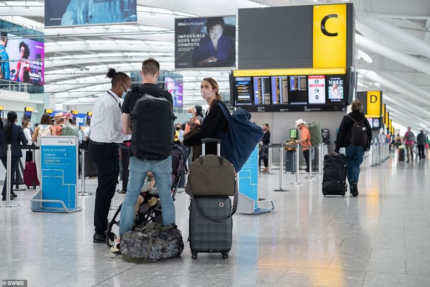 Tourists returning to the UK from Spain will have to quarantine for 10 days, regardless of jabs, if it is placed on the amber-plus list next week. Pictured: Heathrow today