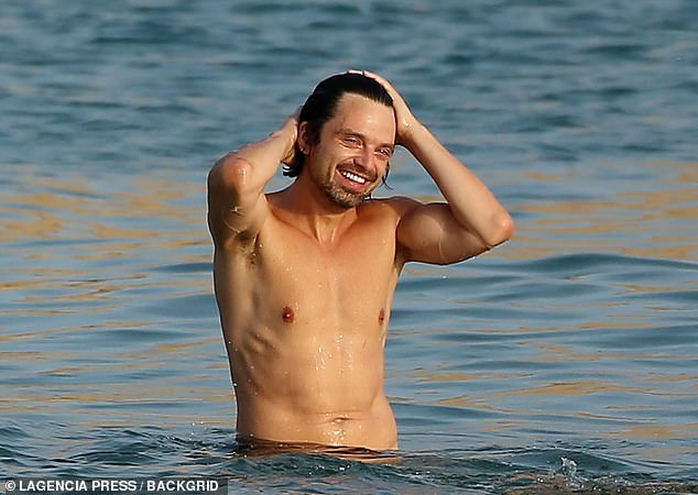 Birthday boy:The Marvel actor cuddled up to the Spanish actress, 29, as they took playful selfies on the beach