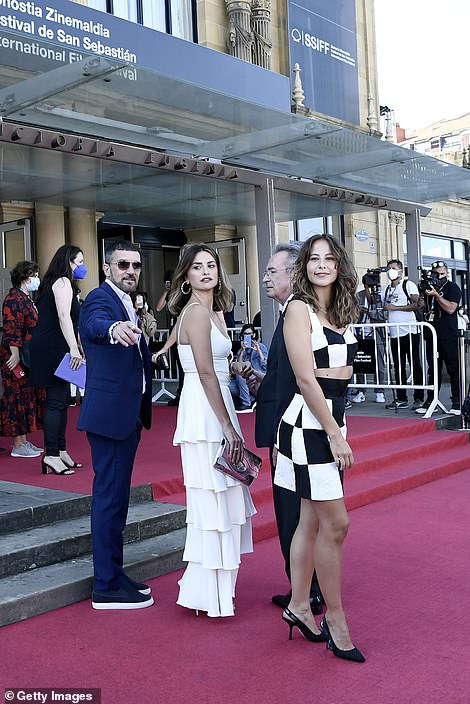 High-profile: The international film festival kicked off on Friday and runs until 25 September (pictured L-R Banderas, Cruz, Oscar Martinez and Irene Escolar)