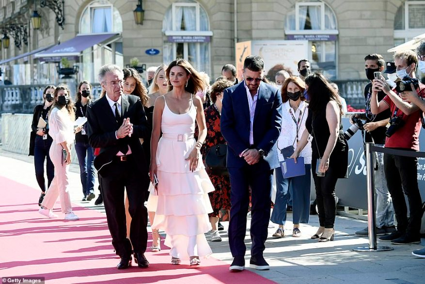 Turning heads: Penelope and her co-stars were among the first to grace the red carpet at this year's San Sebastian festival