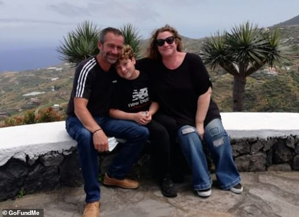 Nikki Batley, 46, fled her home on La Palma on Sunday as volcano erupted and is now staying in friend's apartment with husbandPedro Castro Ramos and son John (pictured together)