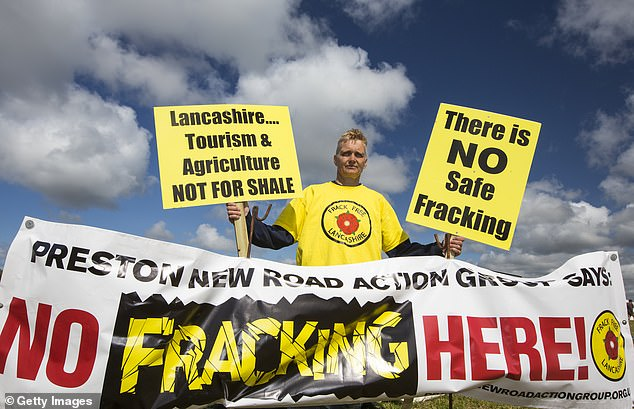 Now the fracking industry is over in Britain before it even began. Pictured: Protesters outside Blackpool's fracking site in 2014