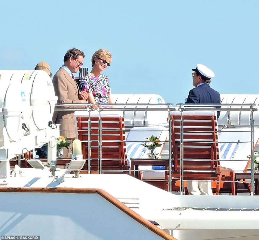 Polite conversation: They chatted to the captain of the yacht