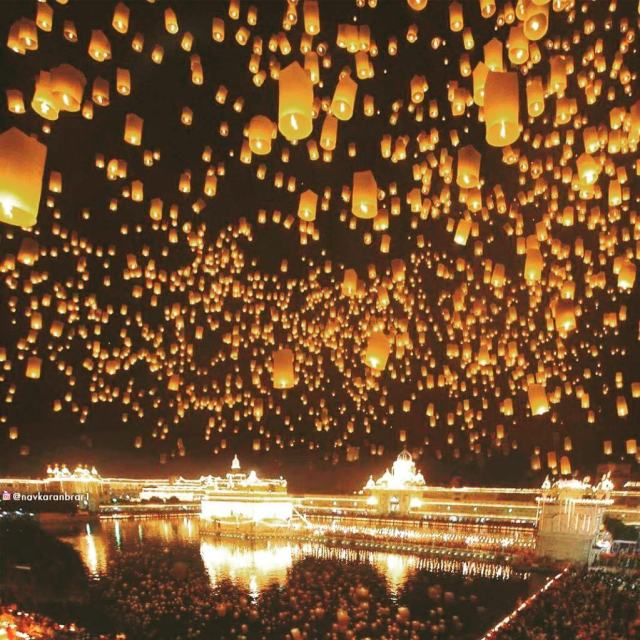 Happy Diwali Golden Temple Amritsar Hundreds of lanterns lifting offhellip