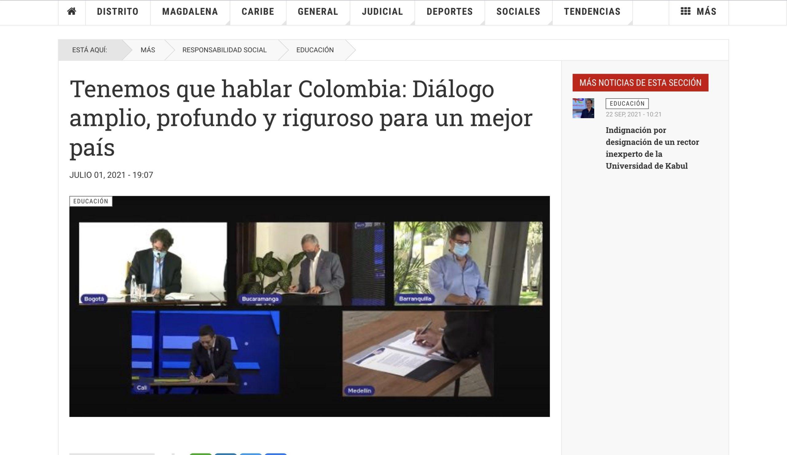 Tenemos que hablar Colombia: Diálogo amplio, profundo y riguroso para un mejor país