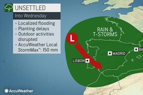 Stormy pattern to bring flash flooding to parts of Spain, France