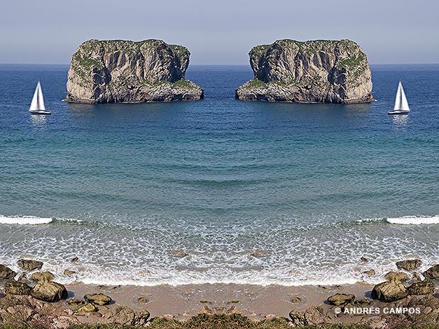 El islote del Castro es uno de los elementos más reconocibles de la playa de Ballota, en el concejo de Llanes.
