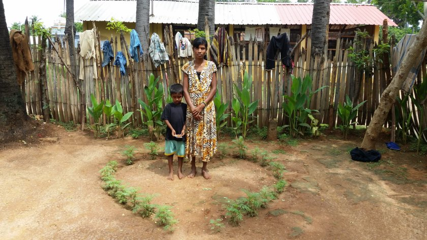 This widow has four children and is deaf and dumb. In this photo she has no food to feed her family, but she has placed these plants in the shape of a heart. Even in the most tragic of circumstances, this woman still had hope. This photo was taken in an Internal Displaced Person's Camp in Jaffna, Sri Lanka.