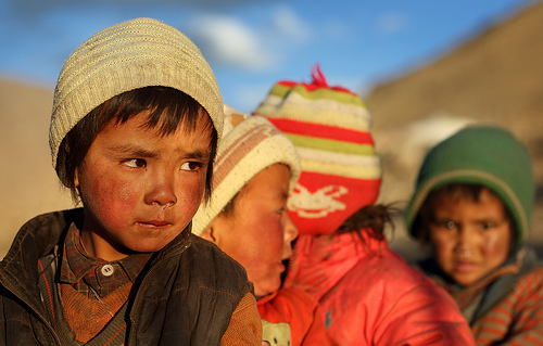 Nomad children in Changtang, Ladakh