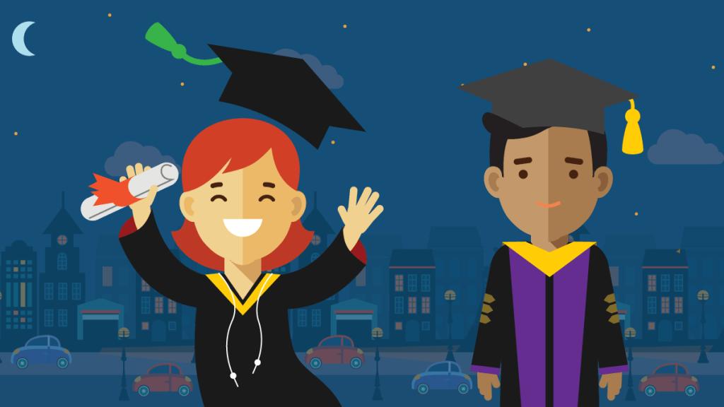 illustration of smiling grads