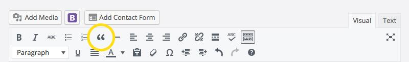 WordPres toolbar blockquote