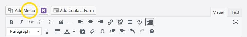 WordPress toolbar media