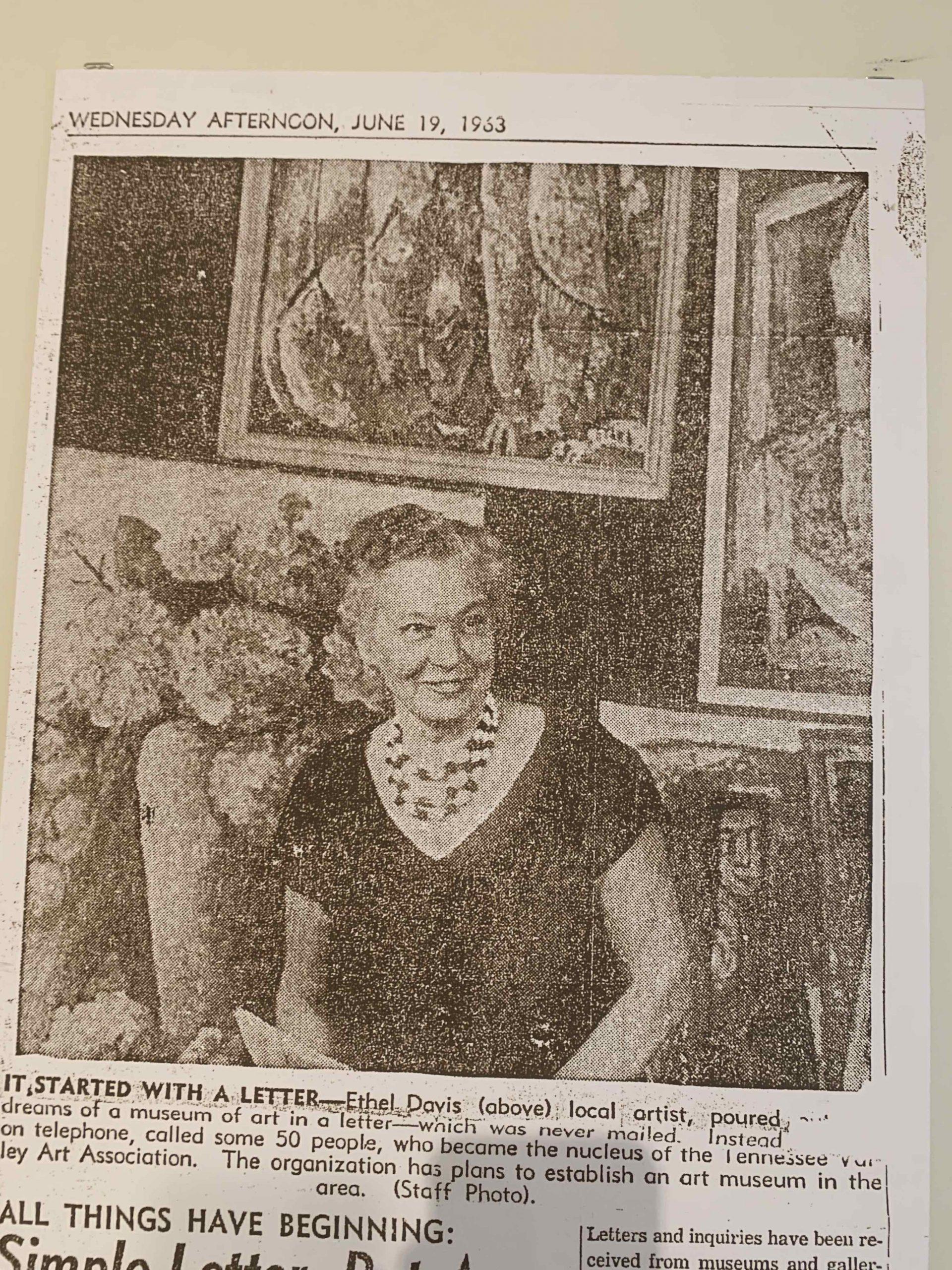 Newspaper photo of Ethel Davis, TVAA founder