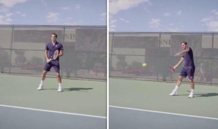 Roger Federer tests a new Wilson Racket