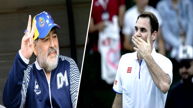Diego Maradona sends a message to Roger Federer in the exhibition tour