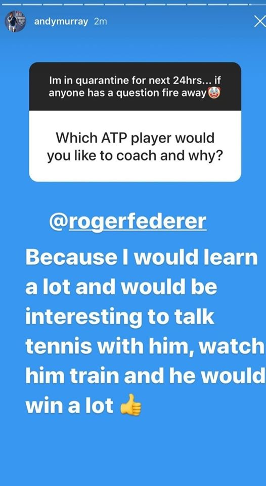 "Andy Murray ""I'd learn a lot if I coach Roger Federer"""