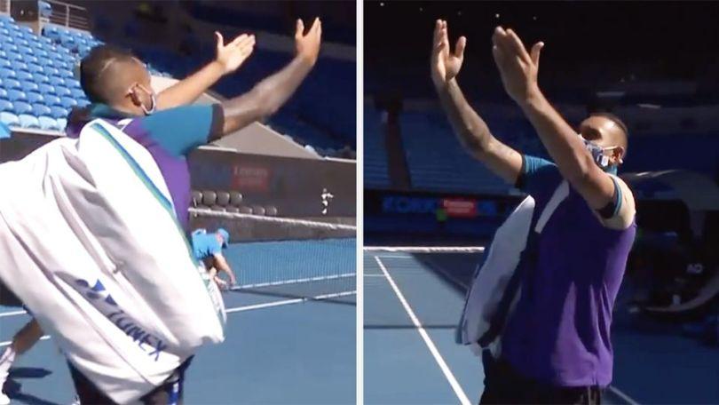 Nick Kyrgios makes fun of Novak Djokovic's victory celebration