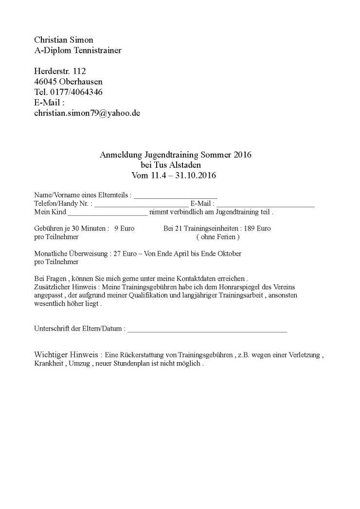 Anmeldung Jugendtraining Tus Alstaden