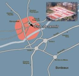 Depuis la ROCADE Direction Blanquefort, puis après atac Market tournez à gauche et au bout de la rue au rond pont tournez à droite de nouveau rond pont et l'entrée du parc aves les tennis.