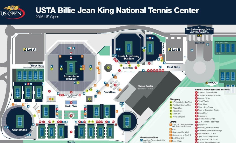 US Open Tennis NYC Tickets Courts Coupons BOGO Kids Day - Us open tennis center map