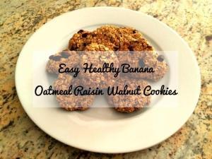 Easy Healthy Banana Oatmeal Raisin Walnut Cookies Recipe
