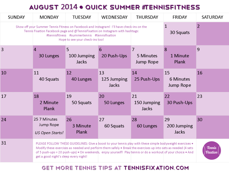 Calendar-August-2014-Summer-Tennis-Fitness