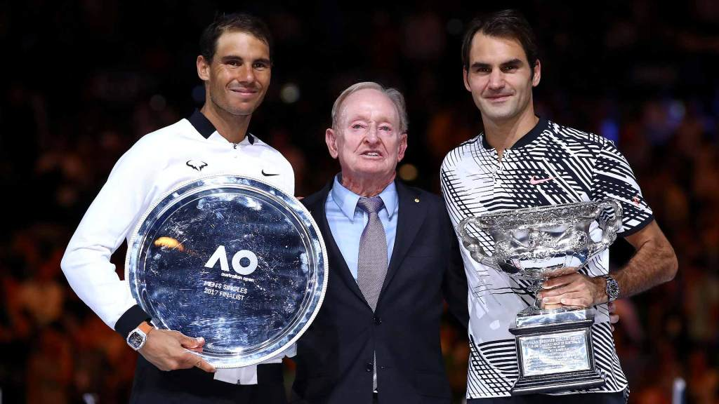 Rod Laver with 2017 Australian Open finalists