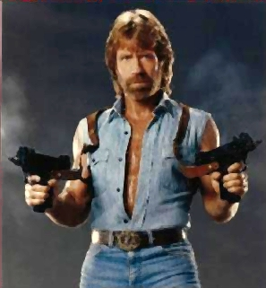 Chuck Norris big guns pictures photos
