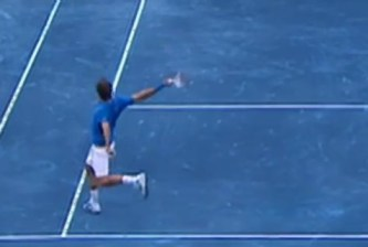 Roger Federer backhand blue clay Madrid 2012 final Berdych screencaps images photos