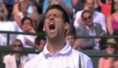 Novak Nole Djokovic roar screencaps Wimbledon images photos 2011