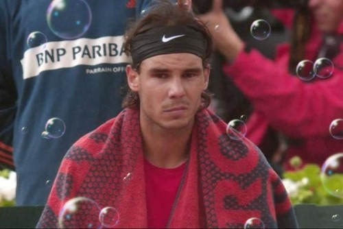 Rafa unhappy Roland Garros French Open rain delay final 2012 with added bubbles pictures photos