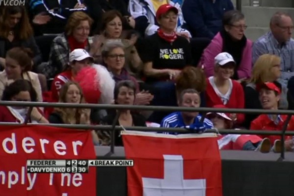 Roger Federer fans pom pons poms Swiss banners red white Rotterdam tennis photos images pictures screencaps