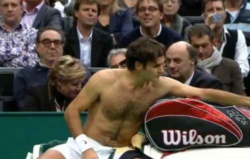 Roger Federer shirtless shirt change hairy chest photos pictures Rotterdam tan lines images screencaps