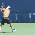 Tommy Haas shirtless backhand set-up bare back practice images Western and Southern Open photos
