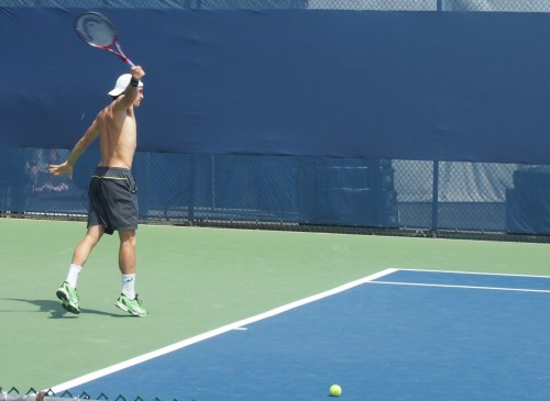 Tommy Haas shirtless one-handed backhand topless naked racquet Cincinnati Open tennis practice 2012 photos pictures