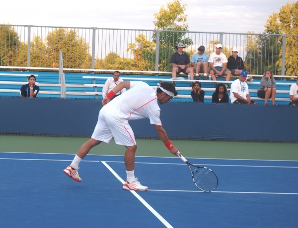 Western and Southern Open Fabio Fognini bad line call pointing out mark white outfit pictures images photos