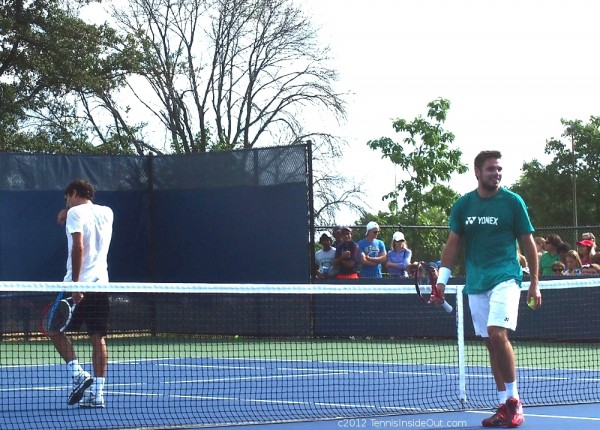 Stan Wawrinka green yonex shirt Roger white net Cincinnati Western and Southern Open pictures photos images