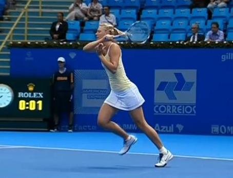 Maria Sharapova forehand follow-through Brazil Federer tour pictures photos