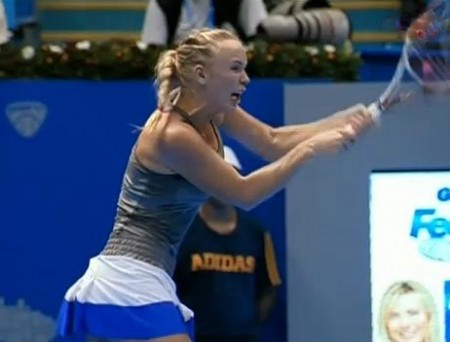 Caroline Wozniacki backhand blue white skirt South America Brazil exo
