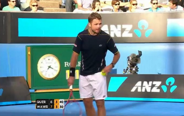 Australian Open 2013 Stan Wawrinka Stanley serve photos sizing up competition pictures screencaps images